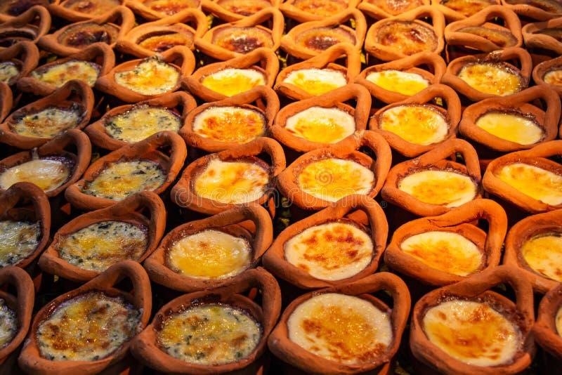 Papo Kaeng de Khanom, Mung Bean Thai Custard Dessert Recipe em um pequeno fotografia de stock royalty free