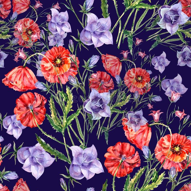 Papoila do ramalhete da aquarela e flor de sino Teste padrão sem emenda floral Fundo violeta ilustração royalty free