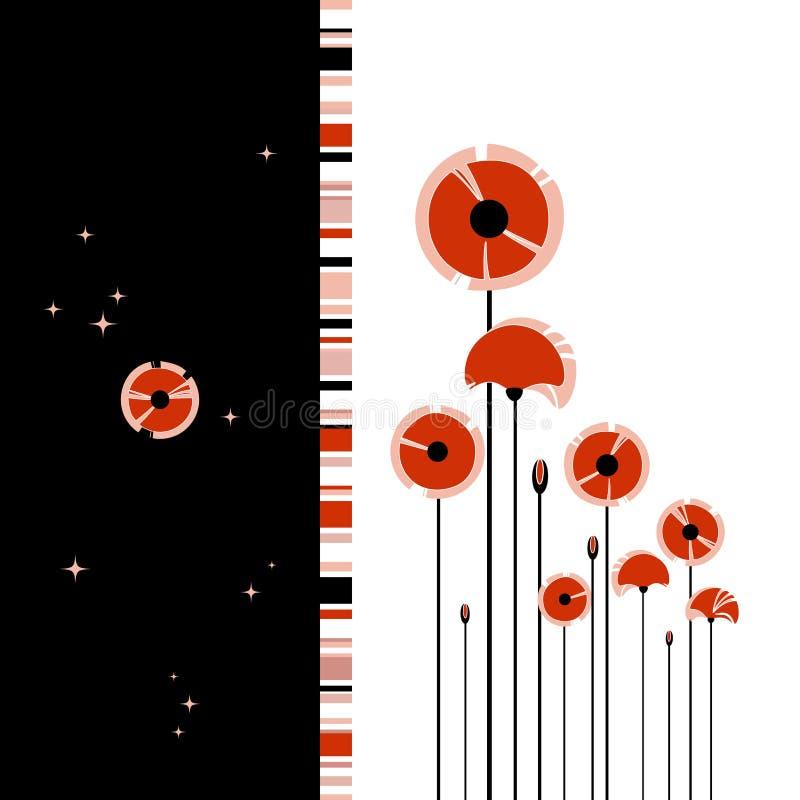 Papoila vermelha abstrata no fundo preto e branco ilustração royalty free