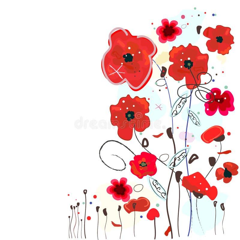 A papoila vermelha decorativa floresce o cartão abstrato do fundo Fundo vermelho da ilustração do vetor da aquarela das papoilas ilustração do vetor