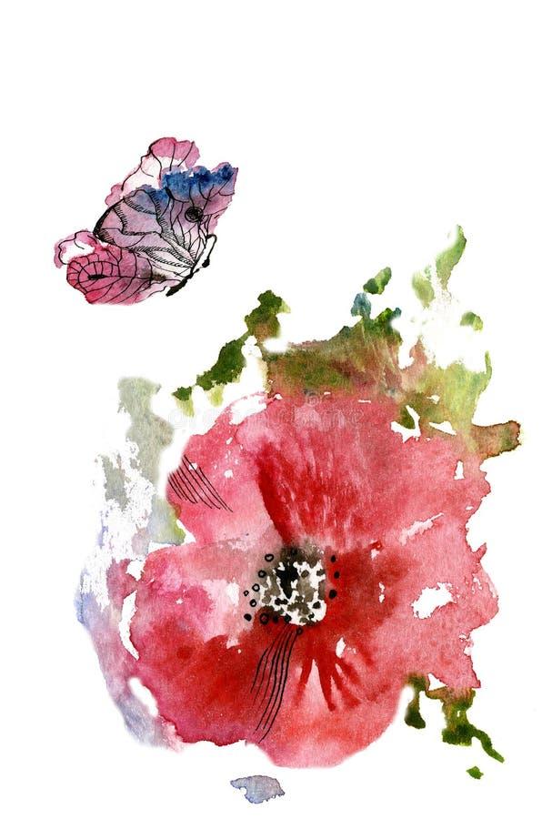 Papoila vermelha e uma borboleta ilustração royalty free