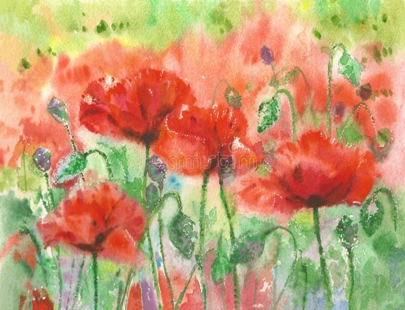 Papoilas vermelhas ilustração stock