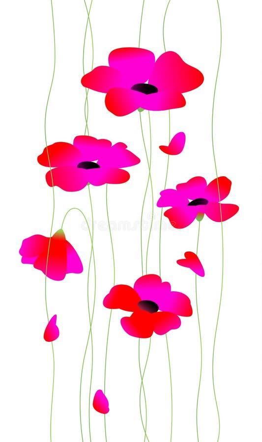 Papoilas vermelhas das flores em hastes Vetor A ilustração elegante bonita para o cartão, felicitações das mulheres no feriado ilustração royalty free