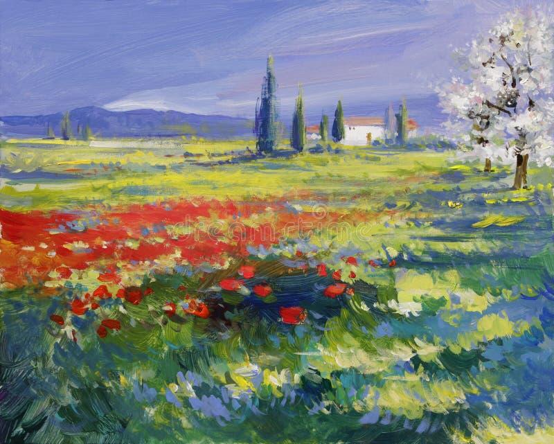 Papoilas pintadas no prado do verão ilustração stock