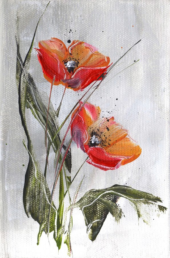 Papoilas vermelhas no cinza ilustração stock