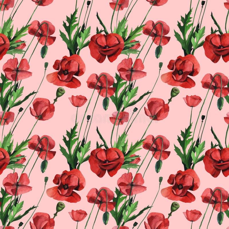 Papoilas vermelhas selvagens da aquarela Projeto de superfície para a decoração interior, edições impressas ilustração royalty free