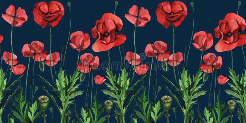 Papoilas vermelhas selvagens da aquarela Projeto de superfície para a decoração interior, edições impressas ilustração do vetor