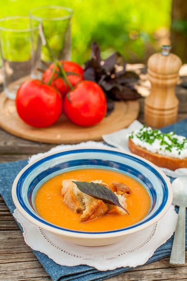 Pappa Al pomodoro、蕃茄和面包汤 库存照片