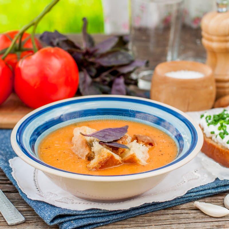 Pappa Al pomodoro、蕃茄和面包汤 免版税库存照片