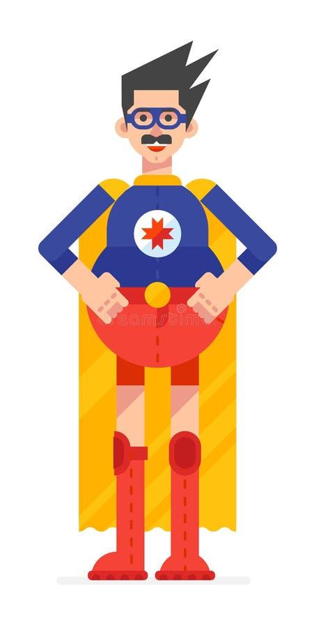Pappa för toppen hjälte i superherodräkt Hjälte i en gul kappa, dräkt med exponeringsglas för objektbana för bakgrund clipping is stock illustrationer
