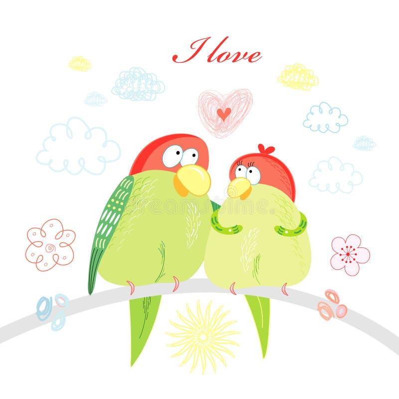 Pappagalli amorosi di divertimento illustrazione vettoriale