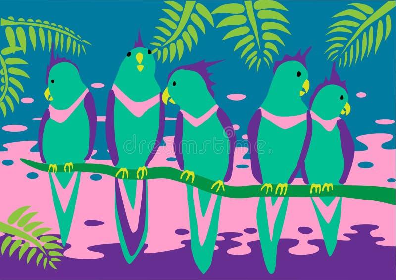 Pappagalli luminosi illustrazione di stock