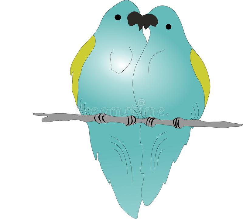 Pappagalli nell'amore, due pappagalli su un ramo illustrazione vettoriale