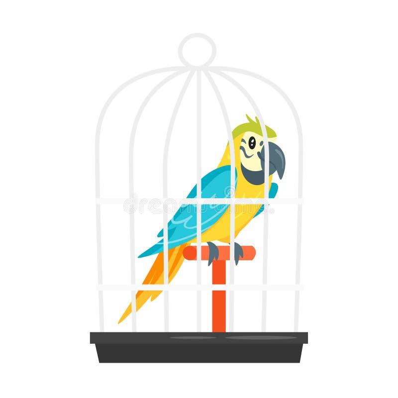 Pappagallo animale dell'animale domestico in birdcage illustrazione vettoriale