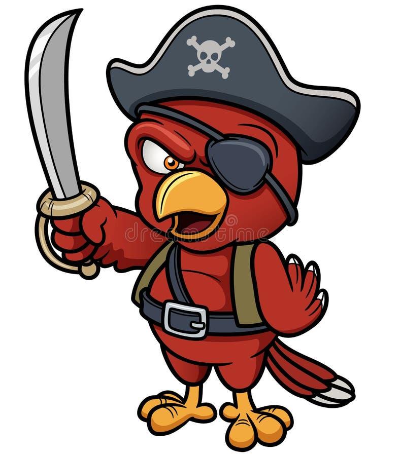 Pappagallo del pirata del fumetto illustrazione vettoriale