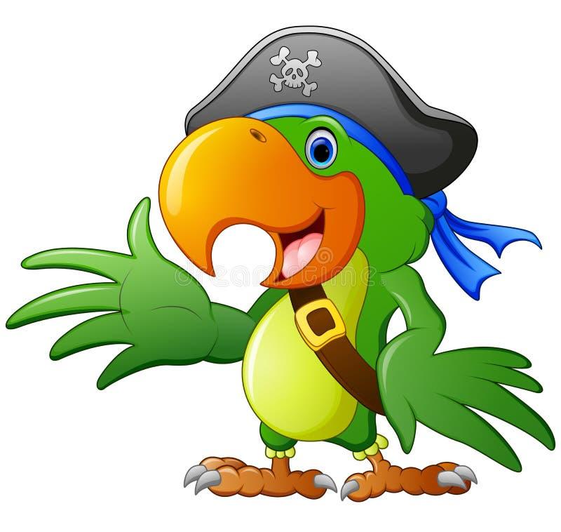 Pappagallo del pirata del fumetto illustrazione di stock