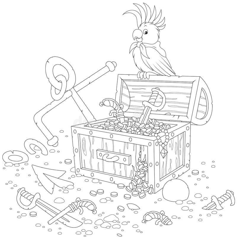 Pappagallo e forziere del pirata royalty illustrazione gratis