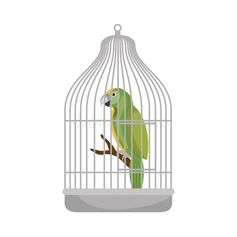 Pappagallo sveglio dell'uccello nella mascotte della gabbia illustrazione di stock