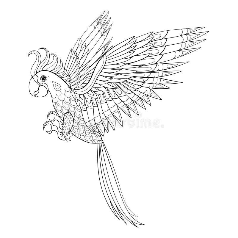 Pappagallo tribale disegnato a mano, totem dell'uccello per la pagina adulta di coloritura dentro illustrazione di stock