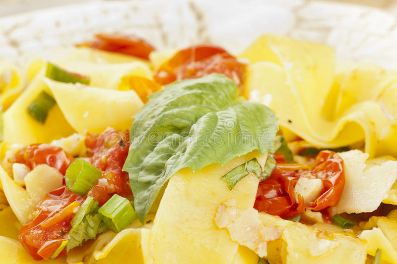 Pappardelle Pasta with corn and tomatoes royalty free stock photos