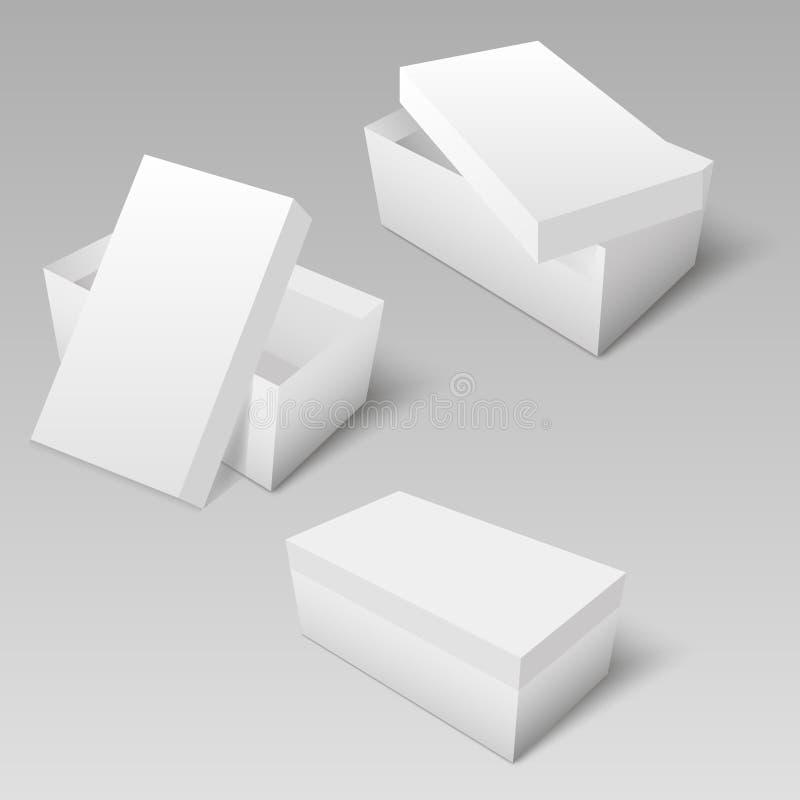 Pappe des weißen Quadrats oder Papierpaket mit Abdeckungskastenmodell Vektor lizenzfreie abbildung
