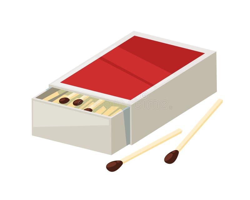 Pappe, Papierkasten für das Beleuchten des Matches Elementzündung für Feuer vektor abbildung