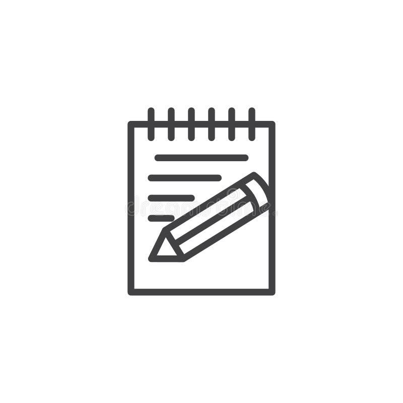 Papper anteckningsbok, notepadblyertspennalinje symbol royaltyfri illustrationer