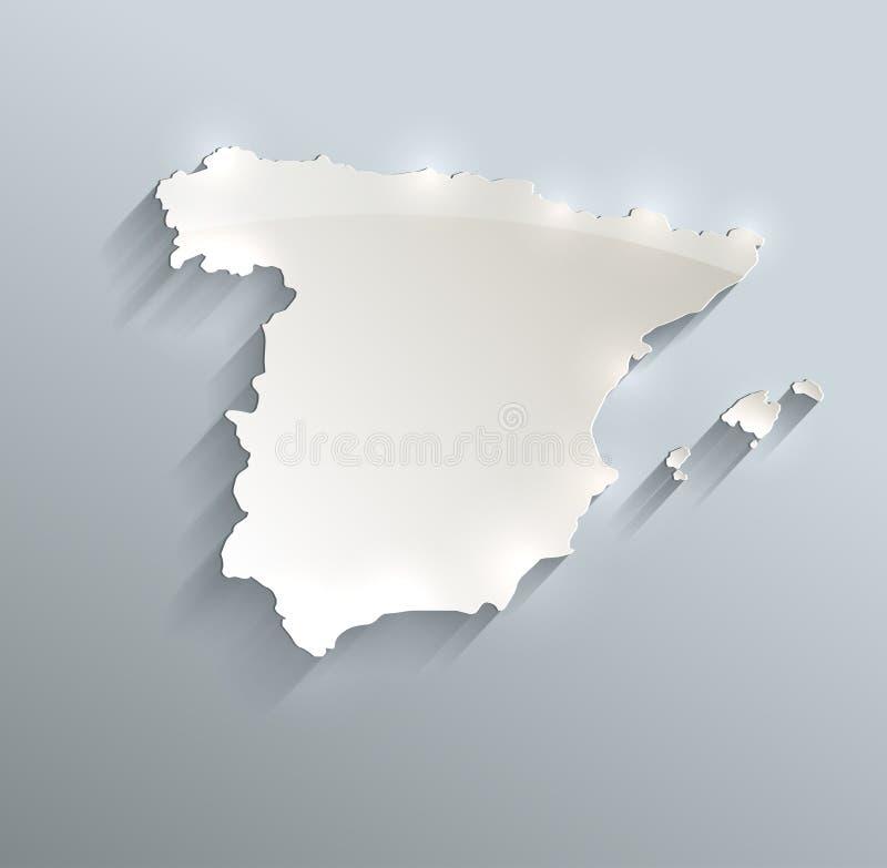 Papper 3D för kort för Spanien översikt blått vitt royaltyfri illustrationer