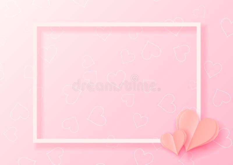 papper för abstrakt begrepp 3d klippte illustrationen av rosa hjärtaform med den vita ramen Färgrikt hälsningkort för vektor stock illustrationer