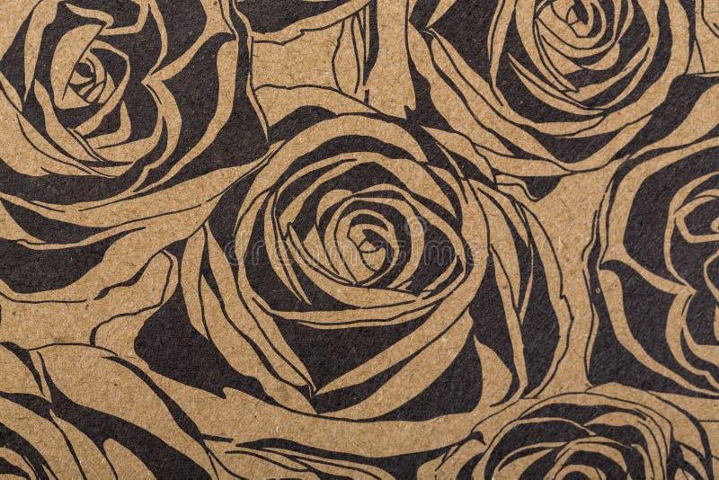 Papper för blommamodellen för räkningar för påfyllningar för textiltapetmodell ytbehandlar halsduken för tryckgåvasjalen på brunt vektor illustrationer
