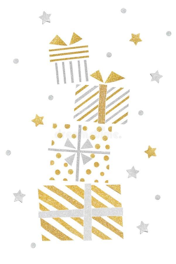 Papper för bunten för gåvaaskar klippte på vit bakgrund vektor illustrationer