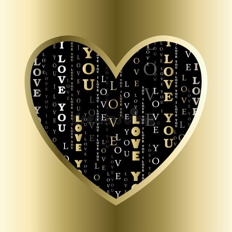 papper för förälskelse för bakgrundskortgrunge Hjärtaform med älskar jag dig text royaltyfri illustrationer