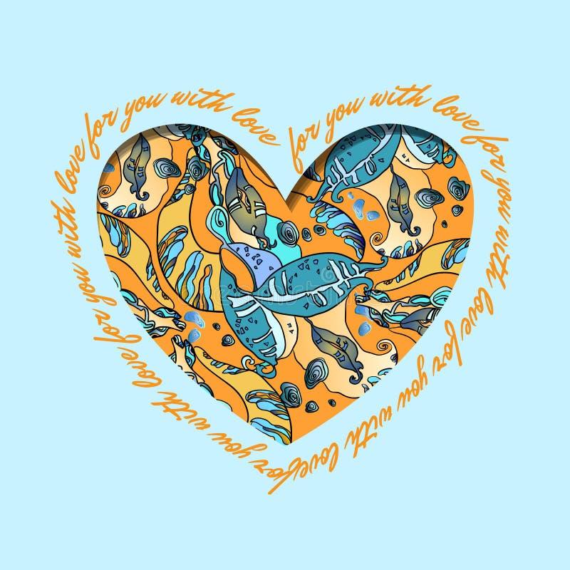 papper för förälskelse för bakgrundskortgrunge Orange hjärtadesign för turkos med den abstrakta modellen vektor illustrationer