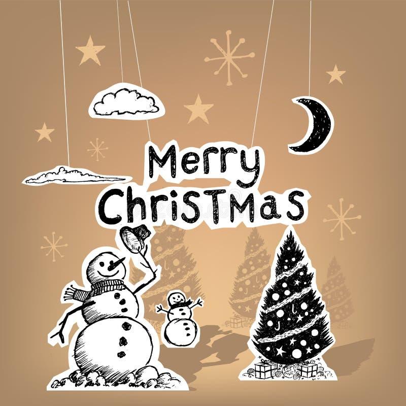 Papper för glad jul royaltyfri illustrationer