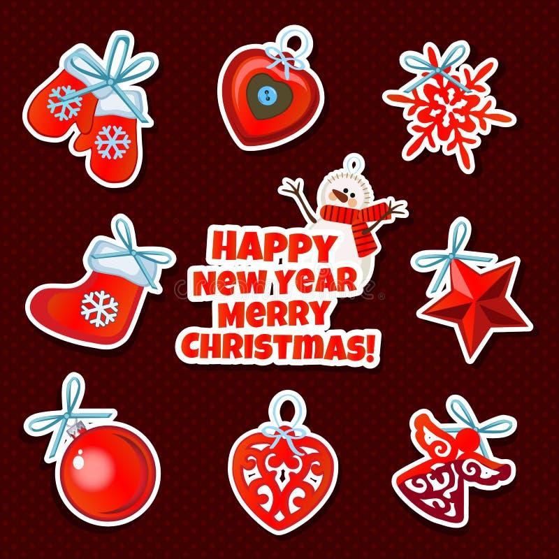 Papper för inpackning för prövkopiadesign med attribut av det nya året och julen Skissa av affischen, partiinbjudan och vektor illustrationer