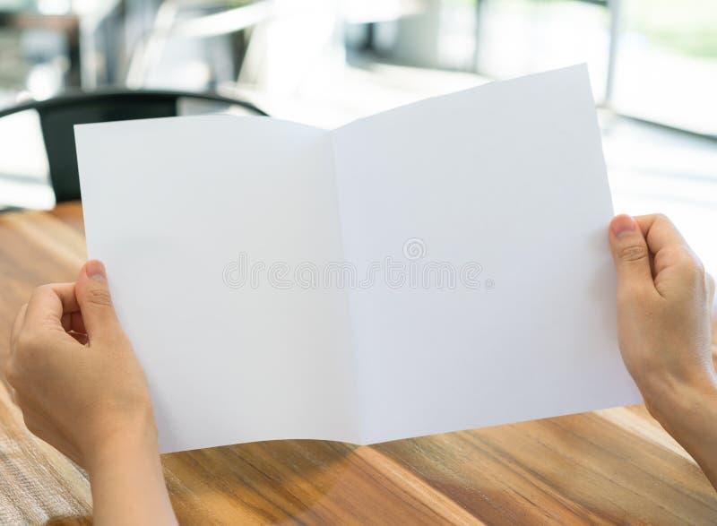 Papper för mall för kvinnahandhåll Bifold vitt på wood textur royaltyfri fotografi