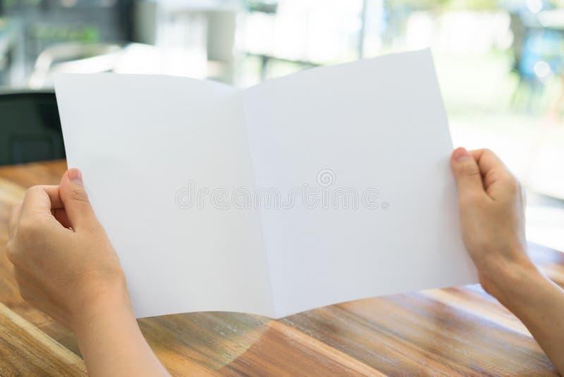 Papper för mall för kvinnahandhåll Bifold vitt på wood textur arkivfoton