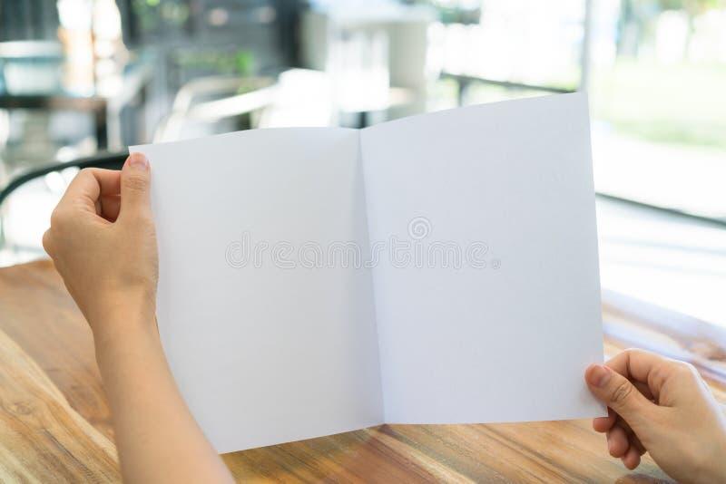 Papper för mall för kvinnahandhåll Bifold vitt på wood textur arkivfoto