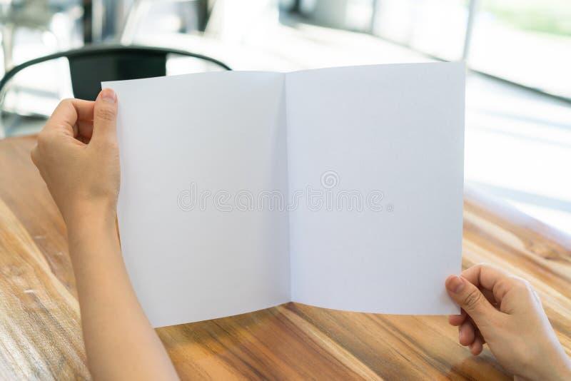 Papper för mall för kvinnahandhåll Bifold vitt på wood textur arkivbilder