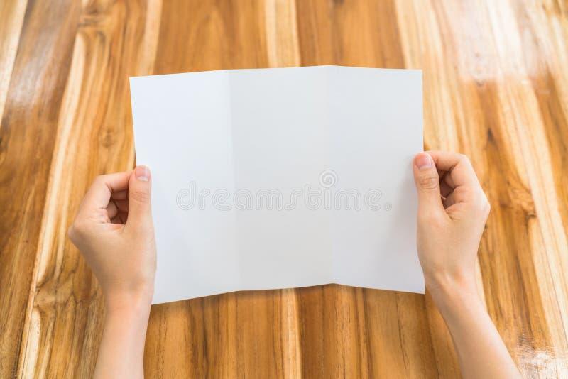 Papper för mall för kvinnahandhåll Trifold vitt på wood textur arkivbilder