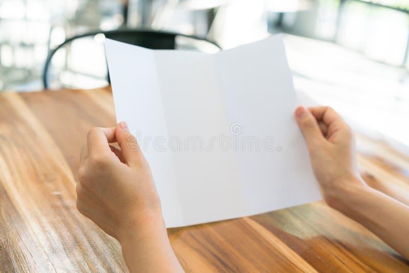 Papper för mall för kvinnahandhåll Trifold vitt på wood textur arkivfoto