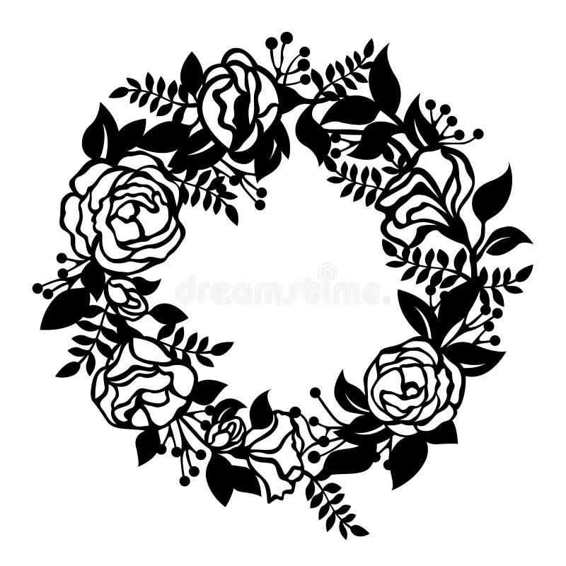 Papper för tecknet för cirkeln för blommablomningkransen klippte konstvektordesign royaltyfri illustrationer