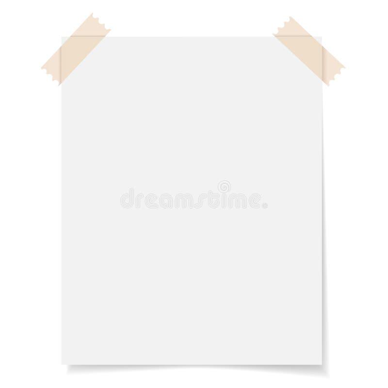 Papper för tomt ark med tejpen royaltyfri illustrationer