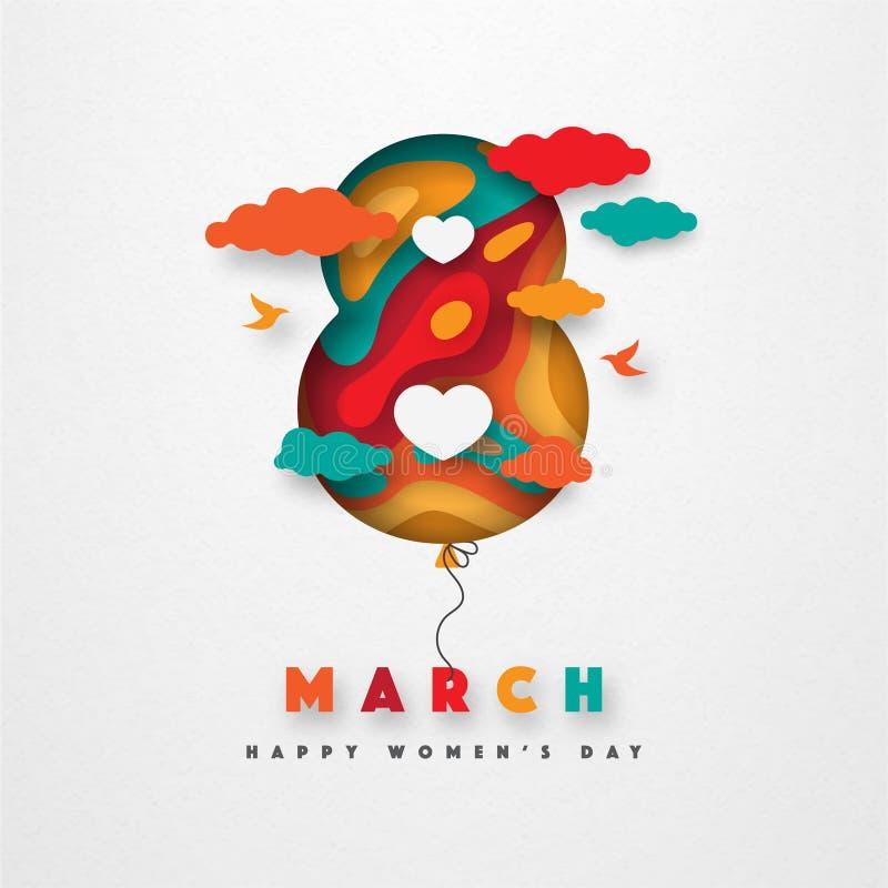 Papper för vektorn för marsch för dagen för kvinna` s 8 klippte illustrationen royaltyfri illustrationer