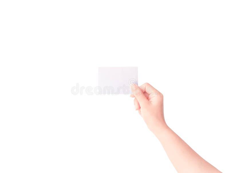 Papper f?r kvinnahandinnehav som isoleras p? vit bakgrund royaltyfri fotografi