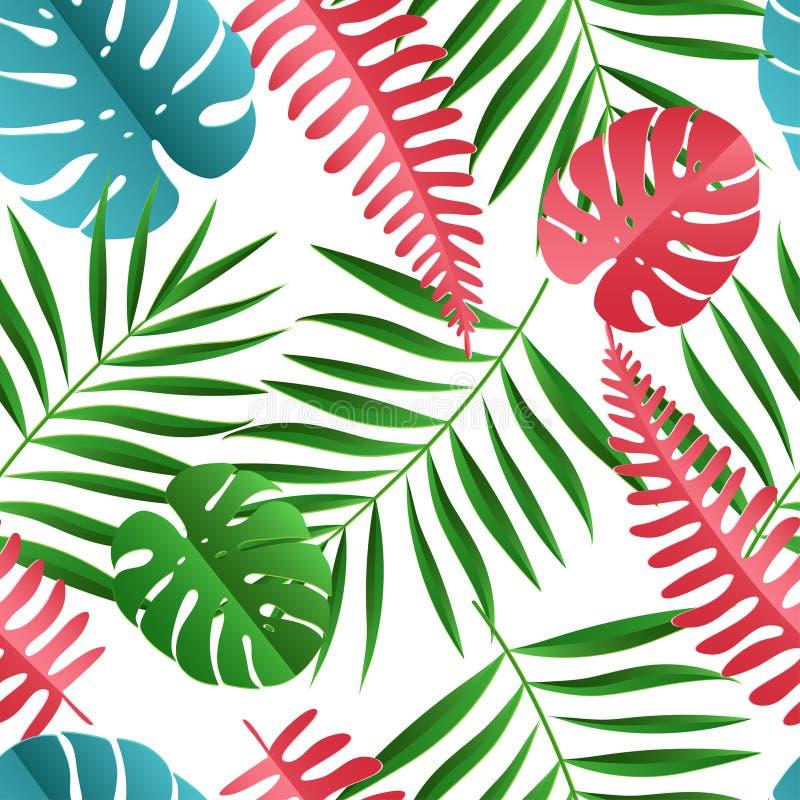 Papper gömma i handflatan, den sömlösa modellen för monsterasidor Tropisk sommar vektor illustrationer