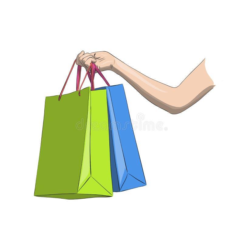 Papper het winkelen zakken in vrouwen` s hand Kleurrijke geïsoleerde vector royalty-vrije illustratie