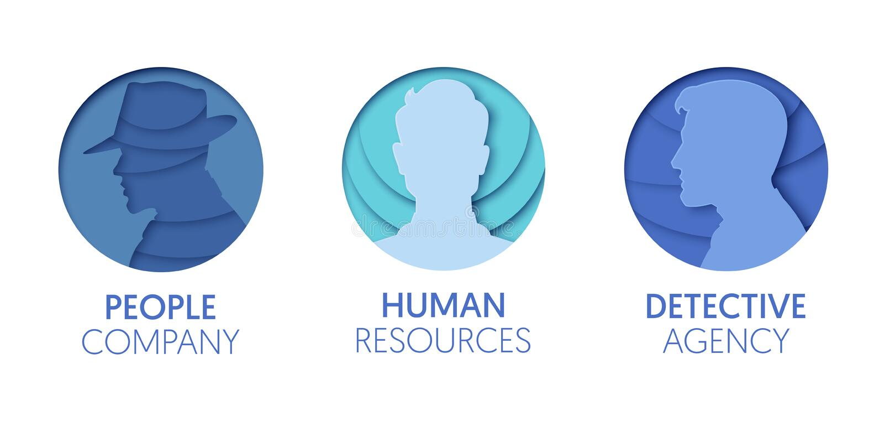 Papper klippta ut Logo Template Set med folk Mänskliga symboler för origamimanhuvud för att brännmärka, broschyr, identitet stock illustrationer