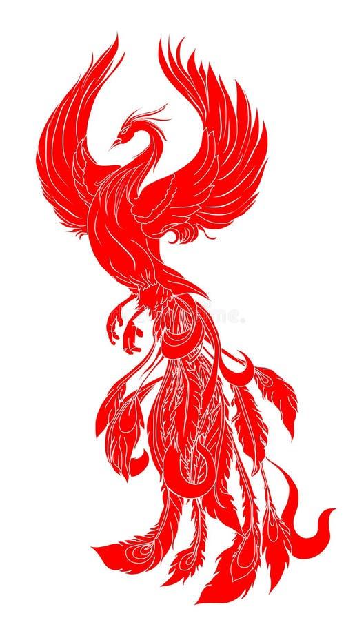 Papper klippte den röda stam- tatueringen för den Phoenix brandfågeln royaltyfri illustrationer