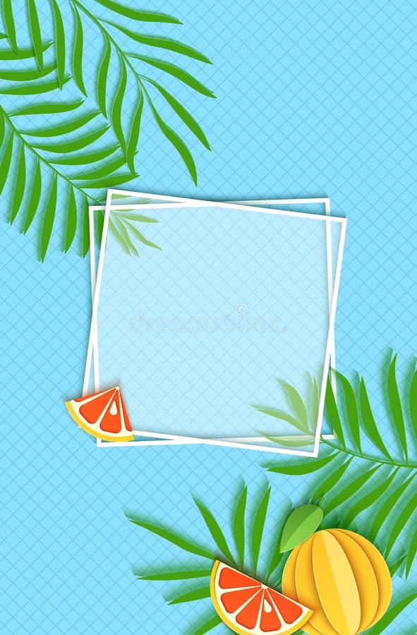 Papper klippte två vita fyrkantiga ramar med gröna tropiska palmblad och skivan och hel grapefruktcitrusfrukt vektor stock illustrationer